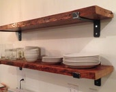 """TWO 48"""" x 11"""" Reclaimed Wood Shelves with Handcrafted Metal Shelf Brackets"""
