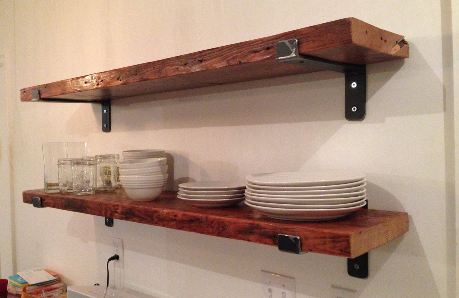 One Reclaimed Wood Shelf 48 X 9.5 With Two By LRdesignlab