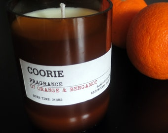 Orange & Bergamot Scented Soya Candle with a Recycled Glass Bottle Container