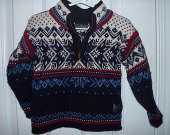 Dale Of Norway Midnight Blue Fair Isle Nordic Sweater Boys' Size 4