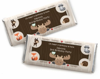 24 Woodland Creatures Custom Candy Bar Wrappers - Personalized Birthday Party Favors