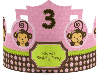8 Custom Party Hats - Monkey Girl Birthday Party Supplies - 8 Count