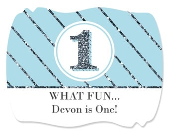 Fun to be One - 1st Birthday Boy Squiggle Stickers - Custom Do It Yourself Birthday Party Supplies - 16 Count