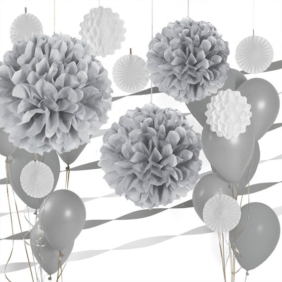 GraySilver And White Decoration Kit Party By