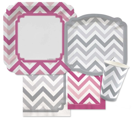 chevron pink and gray tableware kit baby shower birthday party or