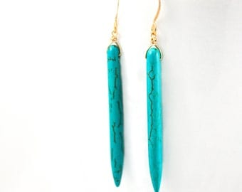 Turquoise Spike Earrings | Britt Earrings Bachelor Bachelorette  | Gold Silver Howlite | Turquoise Drop Earrings | Best Selling Item