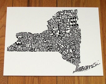 "New York state map, New York counties, typographic map, 14"" x 11"" Giclee Print, Calligram, Ready to Frame, NY State map"