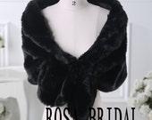 Black faux fur wedding wrap shrug stole shawl cape bridal faux fur wrap Custom size