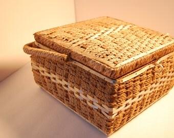 1960s Wicker Woven Sewing Basket