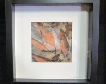 Botanial Eucalyptus Print on Silk in Shadowbox frame