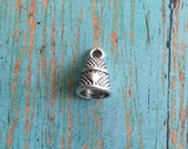 4 thimble charms antique silver tone - silver thimble charm, sewing charms, gift for seamstress, craft charms, thimble pendant, HH11