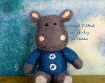 Needle felted Herbert the Hippo