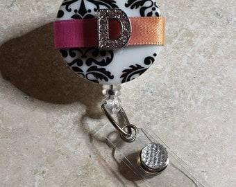 Multi-Colored Initial Badge Holder, Retractable Badge Reel, Cute Badge Reel, Initial Badge Reel, Badge Bling, Gift- BottleCapsGaloreNMor