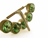 Green Rhinestone Belt Buckle Vintage Half Moon