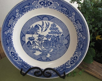 Blue Willow Platter 1960s Made in the USA Large Chop Plate Platter Blue and White Plate Farmhouse Decor Chinoiserie Decorative Plate