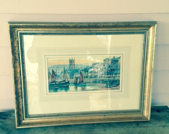Watercolor, Doc Martin Country, St Ives Watercolor by W Sands, Vintage Watercolor