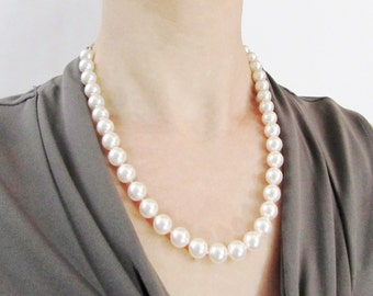 20 Inch Hand Knotted Perfect Pearl Necklace, Pearl necklace, 20 Inch Pearl Necklace, Large Pearl Necklace