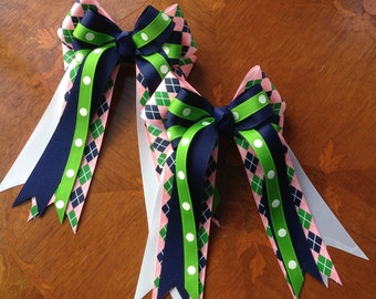 Bows for Horse Shows/Equestrian Bows/Green Blue Pink