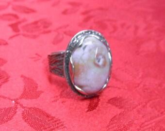 very nice ocean jasper, sterling silver ring size 8
