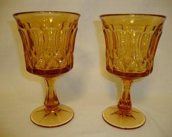 AMBER GLASS Goblets, Set of 2 Wine Glasses, Vintage 1970s