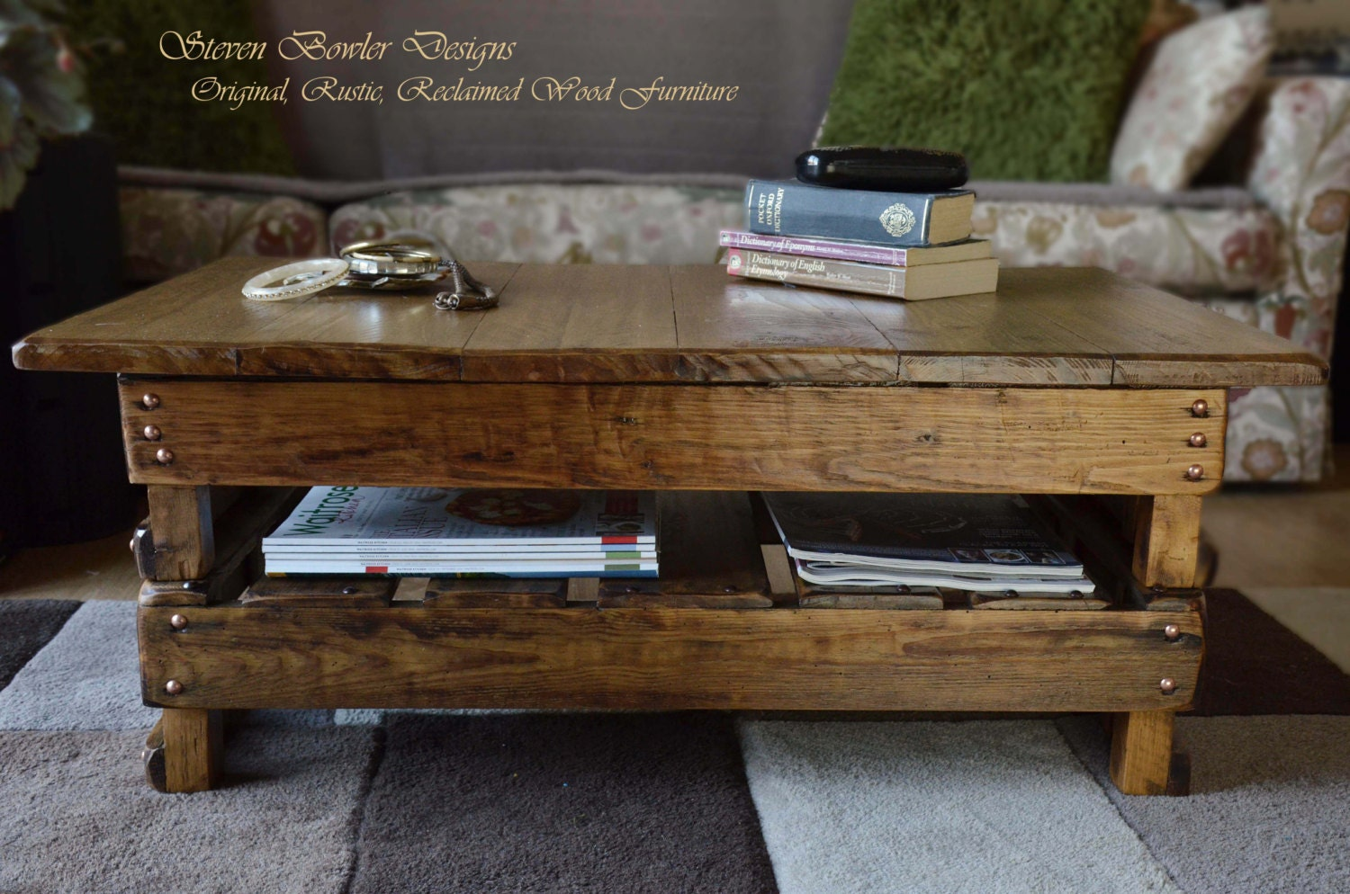 FREE UK SHIPPING Handcrafted to Order Country Cottage Rustic Reclaimed Wood  Coffee Table Medium Oak Stain Copper Tacks Undershelf Storage. FREE UK SHIPPING Handcrafted to Order Country Cottage Rustic