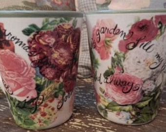 Shabby Chic Pair of Italian Pottery Mugs!