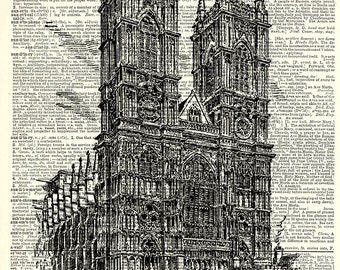 Westminster Abbey Art Print. Vintage book page art print. Print on book page.