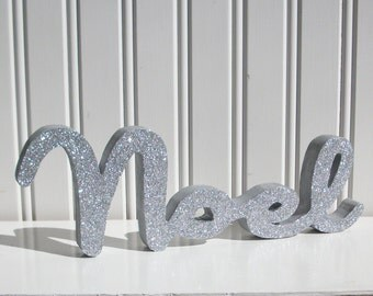 Silver Glitter Noel Letter Sign, Christmas Decoration, Mantle Decoration, Holiday Decoration, Wood Noel Sign