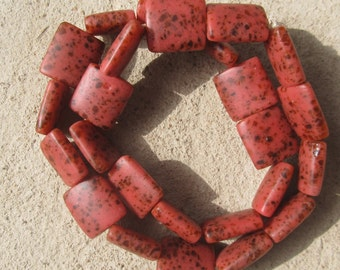 """African recycled glass beads, """"terrazzo tiles"""" (25 x 27 x 10 mm.), 1/4 strand, 5 beads, red"""