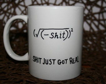 Nerdy maths / chemistry fun! hand painted ceramic mug!