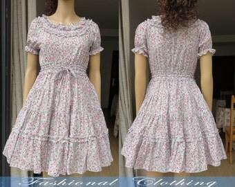 flower dress spring summer dress women clothing women dress short sleeve dress cotton vintage dress girl dress