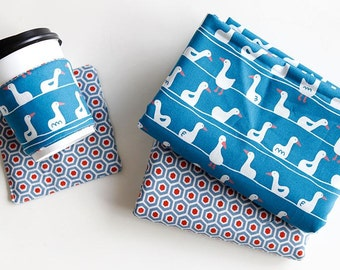 Lovely Duck with Blue or Hexagon Pattern 30s Cotton Fabric