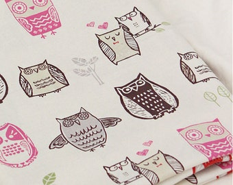 Owl Pattern 20s Cotton Fabric (Natural Color)