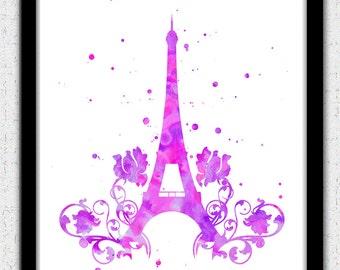 Eiffel Tower print, Eiffel Tower watercolor print, France, Paris symbol gift, Eiffel Tower silhouette, Eiffel Tower decor, Eiffel Tower art