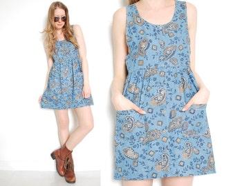 90s dress, babydoll dress, denim dress, paisley print, chambray denim, denim babydoll dress, mini dress, 90s 1990s, grunge dress, 90s grunge