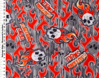 Fabric by the 1/2 Yard - Flaming Skulls Grey and Red Polar Fleece