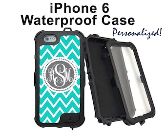 Monogram iPhone 6s Case Personalized iPhone Teal Blue and White Chevron Monogrammed Phone Case iPhone 6 Plus Water Resistant Heavy Duty 2382