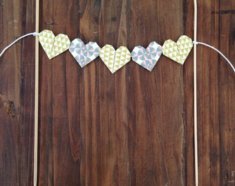 Origami Heart/ cake bunting