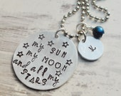 Sun and moon and stars - Hand stamped necklace - Mothers jewelry - Initial necklace - Birthstone jewelry - Personalized necklace