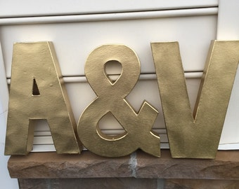 Metallic Letters Wedding Tabletop Decor 12in
