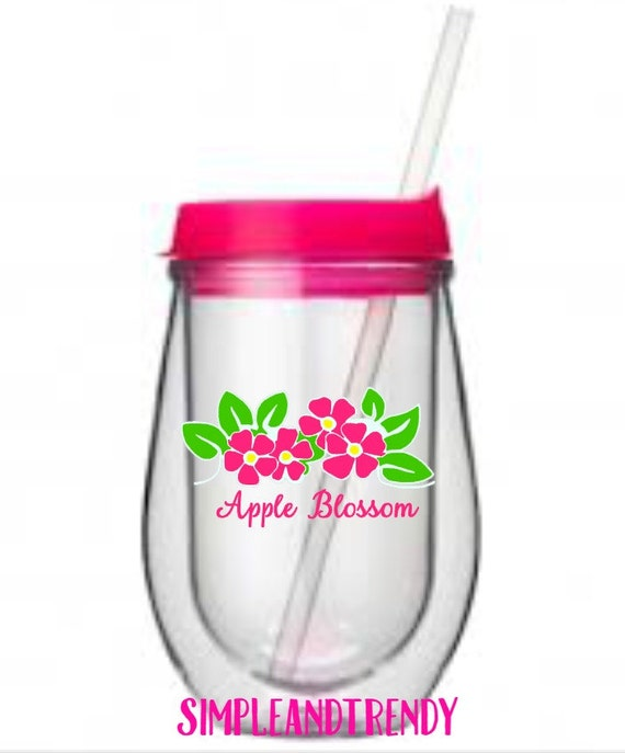 Apple Blossom Pink & Green Flower Stemless By SimpleandTrendy