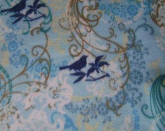 1.5 yards of Blue Songbirds Anti-Pill Fleece Fabric