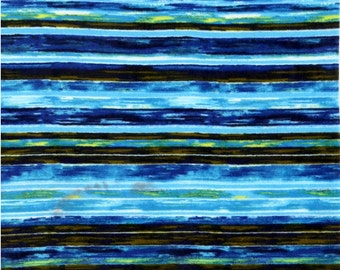 Brush Strokes Blue Antipill Fleece Fabric by the yard