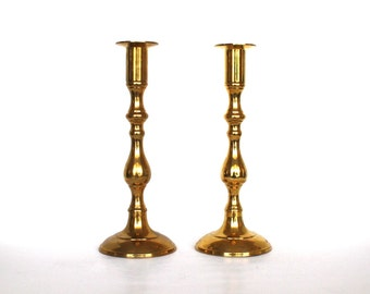 Brass Tall Candle Holders Hollywood Regency / Hollywood Regency Spindles / 2 Vintage Spindle Brass Candlestick Candle holders