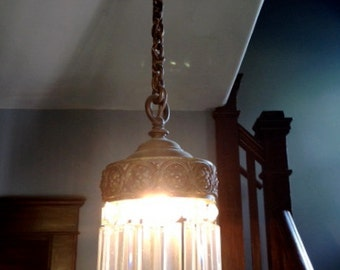 Vintage crystal signed B & H chandelier light hanging fixture
