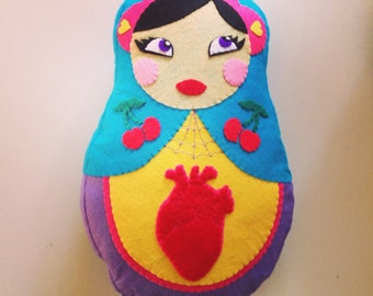 Matrioshka Heart cushion