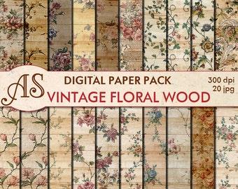 Digital Vintage Floral Wood Paper Pack, 20 printable Digital Scrapbooking papers, Wooden Collage, Decoupage papers, Instant Download, set110