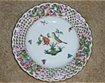 Reduced: Vintage Herend Handpainted Openwork Pierced China Plate-  Rothschild Bird Pattern  #8434/RO made in Hungary