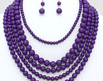 Multi strand necklace, Purple necklace, Bib necklace, Multi layers, Statement necklace, gift for her, Mother's Day gift.