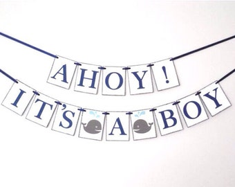 Ahoy It's A Boy Banner Ahoy Its a Boy Theme Boy Baby Shower Nautical Baby Shower Whale Theme Baby Shower Whale Boy Shower Baby Shower Banner